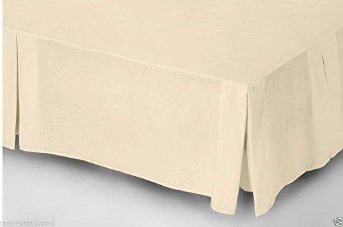 JaaZ Textile - Mantovana coprirete pieghettata, in percalle di policotone di qualità, disponibile in tutte le misure, colore: crema, cotone pettinato/cotone/misto-cotone/poliestere, crema, Super King