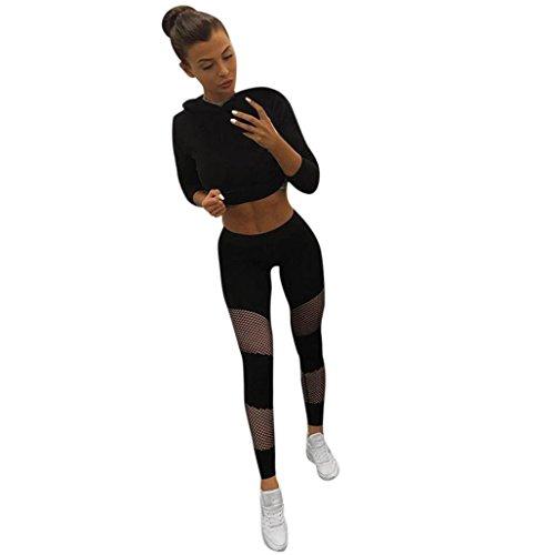 Yoga Strumpfhosen,Resplend Dame Net Garn Nähen Sport-Yoga-Hosen Fischernetze Durchbrochen Sport Leggings Training Tights Sporthose Yoga Pants (Schwarz, S)