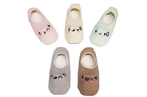 Z-chen 5 paia di calzini antiscivolo invisibili bambini e ragazzi, set 4, 6-8 anni