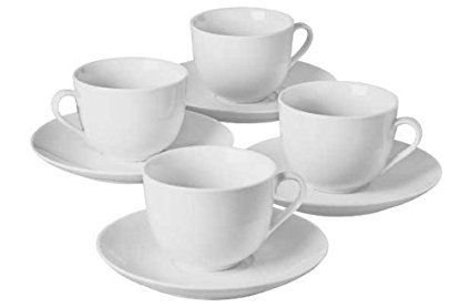 4 Piece Porcelain Tea Cup and Saucer Set - White. by Other