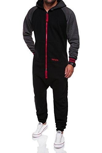 MT Styles Jumpsuit Raglan Jogginganzug Sportanzug JS-01 [Schwarz/Rot, (Jumpsuit Herren Schwarz)