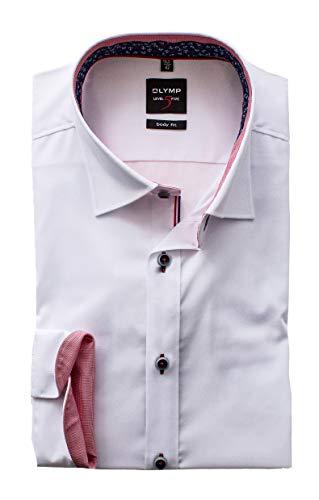 OLYMP Herrenhemd Level Five 5 Body Fit Langarm Under-Button-Down Comfort Stretch Weiß (40)