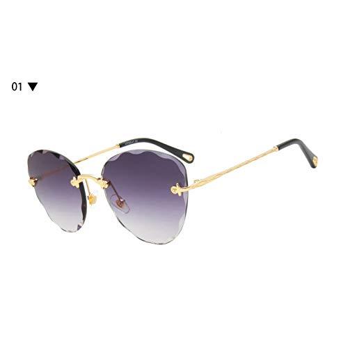 Yuanz Cat Eye Sonnenbrille Frauen Randlose Mode Damen Gradienten Sonnenbrille Weibliche Vintage Shades Sport Im Freien Damen Sonnenbrille Uv400,1