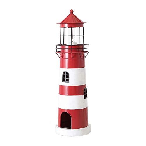Home Collection Metall Laterne Windlicht Leuchtturm H64cm rot Eisen lackiert -