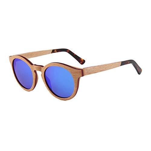 Sonnenbrille Polarisierte Mezzanine Holz Männer Und Frauen Gezeitenstrom Runde Rahmen Skateboard Holzplatte Nähen Fahren Im Freien Anti-UV-Brille (Farbe: Blaue Linse)