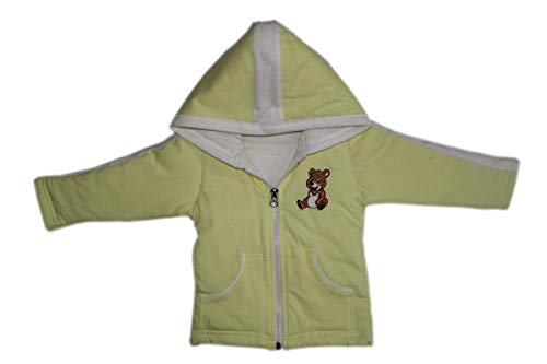 Brim Hugs and Cuddles Sweater/Winter Jackets with Hood and Zipper for Baby Girl and Baby boy(Yellow,6-12 Months)
