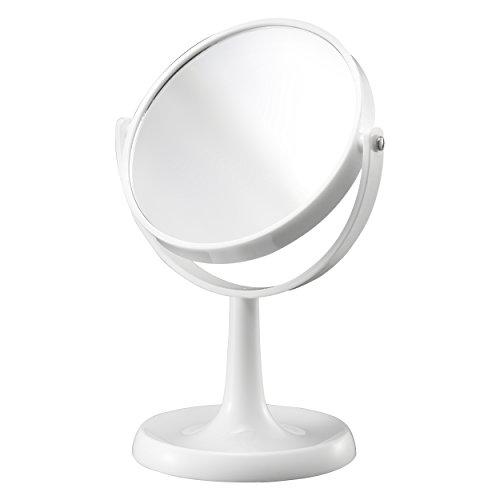 Mari Home - Miroir de maquillage de vanité, grossissement 1X et 3X, Miroir de maquillage blanc cosmétique, Miroir de rasage de table double face Table