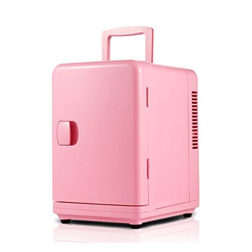 YI HOME- Tragbare Auto Mini Kühlschrank Single Door Haushalt Kleine Elektronische Gefrierschrank Schlafsaal Schnellkühlung Heizung 6L,Pink (Box Single-door)
