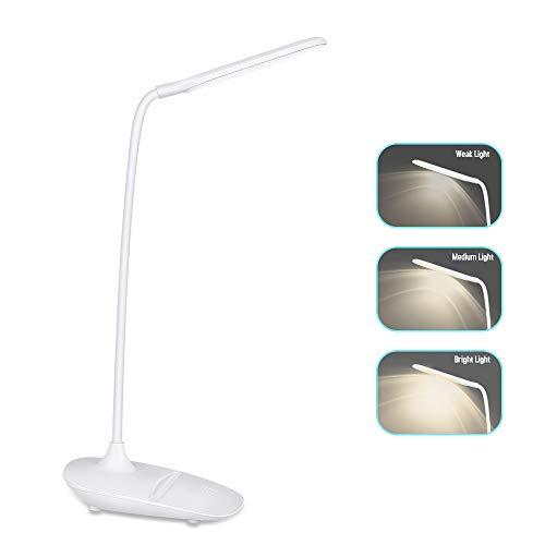 Zorara LED Schreibtischlampe Kinder, Flexible 3 Helligkeitsstufen LED Dimmbar Tischleuchte Nachttischlampe Tischlampe Augenschutz Touchfeldbedienung, USB-Ladeanschluss