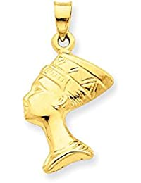 ICE CARATS 14k Yellow Gold 3 D Nefertiti Pendant Charm Necklace Travel Transportation Fine Jewelry Gift Set For Women Heart