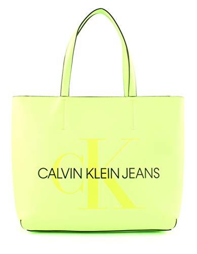 Tasche Monogram (Calvin Klein Damen Sculpted Monogram E/w Tote29 Tote, Gelb (Safety Yellow), 1x1x1 cm)