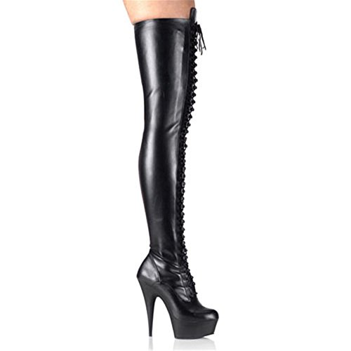 Damen Über Knie-Oberschenkel Stiefel Freude Langer Stiefel Sexy High Heel Lackleder Elastizität Wasserdicht Schnürsenkel Schwarz Herbst Winter Bühne Nachtclub, Matte Black, EUR 44/ UK 10 Sexy High Heel Shoes Com