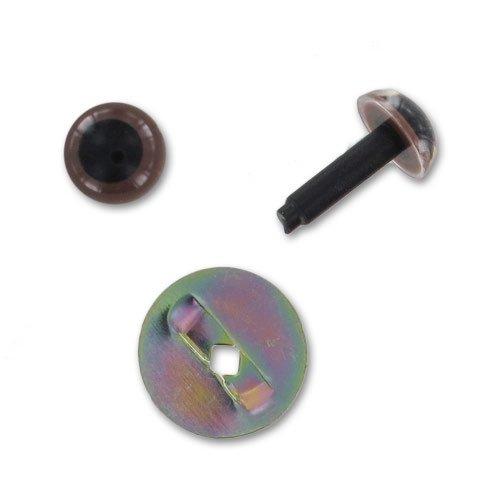 Ojos con seguridad de plástico 6 mm Marrón opaco x10