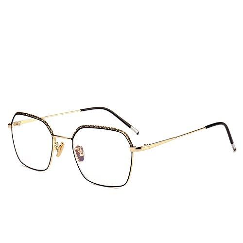 Z&HA Optische Brillen Retro Quadratische Gläser Business Brillen Nicht Verschreibungspflichtige Brillen Edelstahlrahmen Klare Linsen Für Unisex (Damen Mens), Vintage Nerd Computer Brille,Gold
