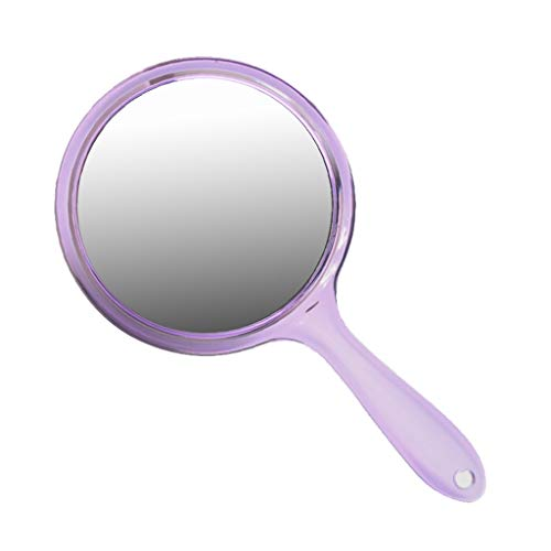 Doppelseitige Handle-Makeup Mirror Hd Magnifying Hand Mirror Dental Mirror Beauty Salon Wall Hanging Mirror Portable Cute Fashion,Purple