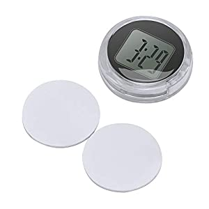 OurLeeme Mini Wasserdichte Stick-On Motorrad Uhr Uhr Motorrad Auto Digitaluhr Bis zu 1 Jahr Akkulaufzeit Dia. 1,1