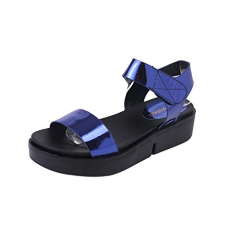 "DDLBiz Women Fashion Casual Flat Sandal Toe Roman Sandals Summer Shoes (US:5.58.8''-9.2"", Blue)"