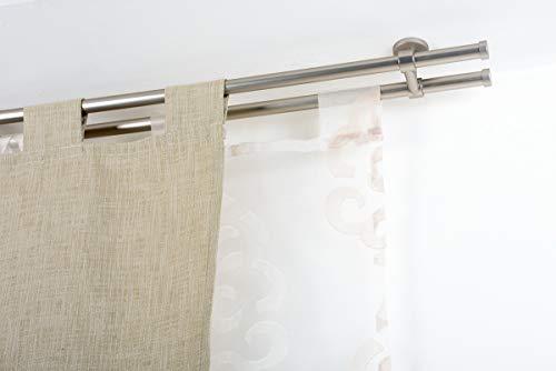 Incasa - asta doppia per tende, 20 mm senza anelli, lunghezza 140 cm, in acciaio satinato, acciaio inox, colore: grigio