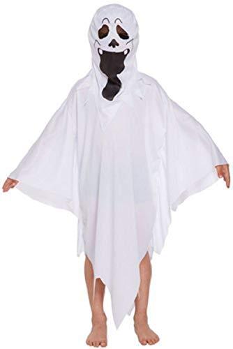 Geister Kostüm Halloween Ghost Umhang Erwachsene Kinder Engelskostüm Horror Ganzkörperkostüm Cosplay Zombie Kapuzengewand Skelettkostüm Todkostüm für Karneval Party Fasching (Ghost Rider Kostüm Für Kind)