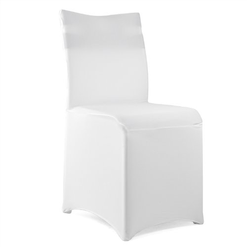 TRIXES 10 X White Synthetic Stretch Fabric Lycra Chair Cover for Banquets Wedding Reception Parties