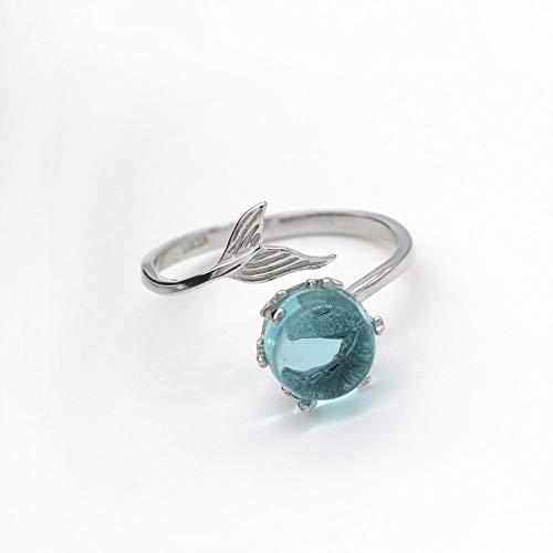 Hddwzh Woman Ring,925 Solid Sterling Silber Ring Blue Crystal Fisch Bubble Schönen Offenen Ring Für Frauen Mode Schmuck Blue Bubble Kleid
