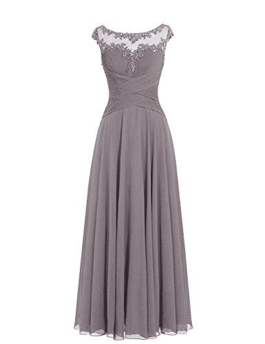 Dresstells Damen Lange Chiffon Ballkleider Brautjungfernkleider Abendkleider Grau Übergröße 48W