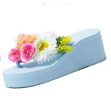 Zhenfu Sandalias Confort Para Mujer Pu Primavera Confort Informal Sonrojo Rosa Azul Blanco 3a-3 3 / 4in Azul