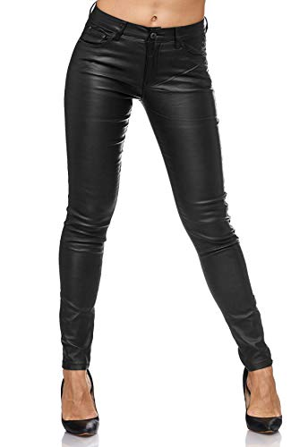 ArizonaShopping - Jeans Damen Treggings Leder Optik Biker Stretch Hose Faux Hüfthose, Farben:Anthrazit, Größe Damen:36 / S -