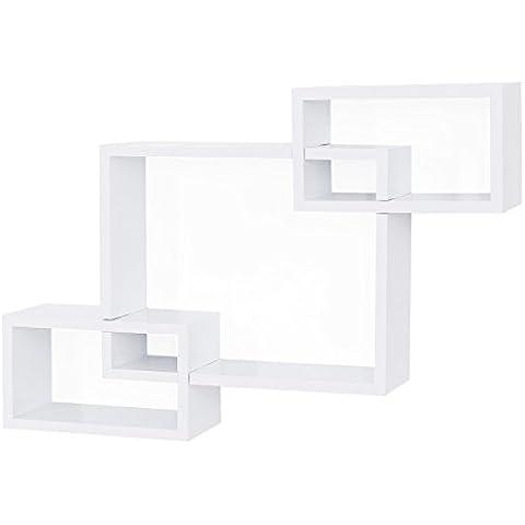 Songmics Juego de 3 estantes para libros CDs Estanterías de pared Cubos retro (blanco) LWS69W