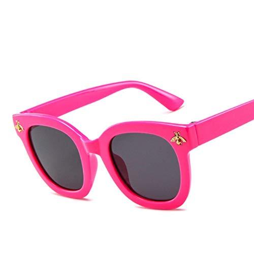 WDDYYBF Sonnenbrillen, Mode Jungen Mädchen Bunte Tint Lens Überdimensionale Bienen Dekoration Quadratische Sonnenbrille Kids Coole Brillen Gläser Uv 400 Rose Rot Gestell Grau Linse
