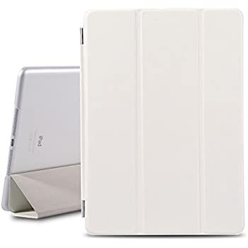 BESDATA Magnetic Smart Cover Stand + Translucent Hard Back Case for Apple iPad Air + Free Stylus + Screen Protector - White - PT4101