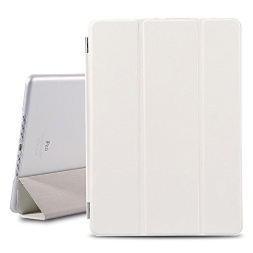 Besdata® Ultra Dünn Edles Smart Cover Schutz Hülle Case Cover Leder Tasche Etui Schutztasche + Back Case für Apple iPad - inkl. Displayschutzfolie Reinigungstuch Stift mit Multi Ständer - Unterstützt Sleep / Wake Funktion (Weiß, iPad Air)