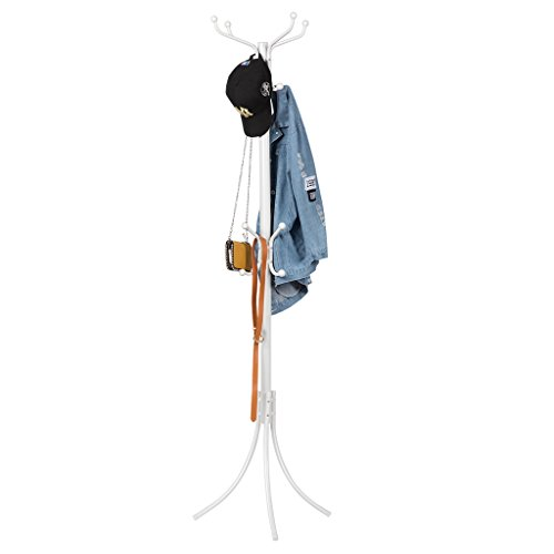 Langria stand appendiabiti attaccapanni moderno funzionale in metallo da 16 colonne con cappuccio protettivo rotondo e piedini di livellamento solido per sala camera da letto 38 x 38 x 181 cm (bianco)