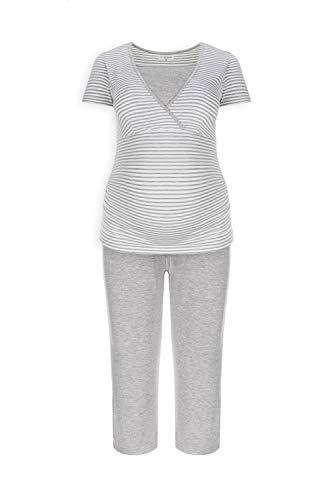 Herzmutter Kurzer Stillpyjama-Umstandspyjama | Nachtwäsche-Pyjama-Set für Schwangerschaft-Stillzeit-Stillfunktion | Schlafanzug mit Spitze-Streifen-Muster | Softes Material | 2600 (XL, Weiß/Grau) -