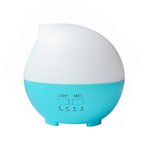 Huertuer 857/5000 Humidificador casero, Humidificador ultrasónico de 300 ml para Aceite Esencial de Aroma casero con lámpara led led - Blanco (Color : Azul)