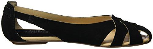 Shoe Biz Flat, Sandali con Zeppa Donna Nero (Nubuk Black)