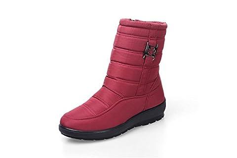 Femmes Bottes de neige Nouveau confort Imperméable antidérapant Tissu imperméable aux intempéries Plus Chaussures en cachemire Chaussures en coton Épais En bas Automne Hiver Travail en plein air , Red , EUR 37/ UK 4.5-5