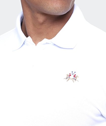 La Martina Herren Poloshirt Man Polo S/S Piquet Piquet Str Weiß