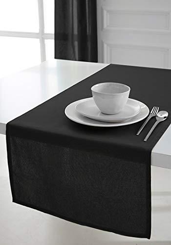 Today 257551runner da tavolo in cotone, 50x 150cm, cotone, réglisse/noir, 50x150 cm