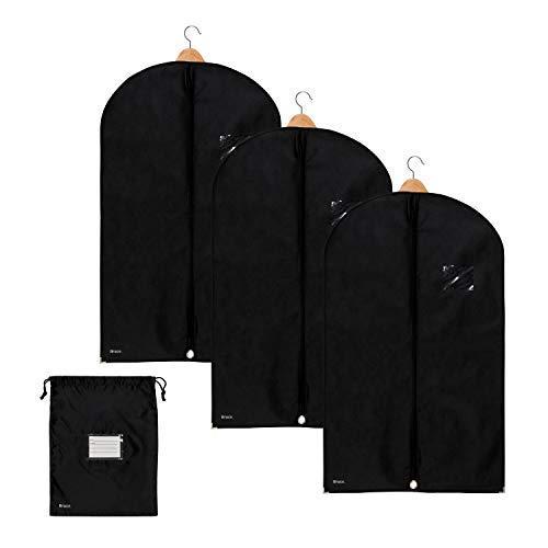Bruce. 3 x Premium Kleidersack inkl. Schuhbeutel | 100 x 60 cm | Optimierte Materialstärke von 120 GSM | Hochwertige Kleiderhülle für Anzug und Kleid | Atmungsaktive Anzugtasche für Reisen