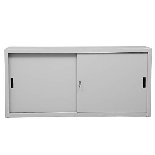Certeo Schiebetürenschrank   2 Ordnerhöhen   HxBxT 75 x 160 x 45 cm   Grau   Aktenschrank Metallschrank Stahlschrank Büroschrank Schrank