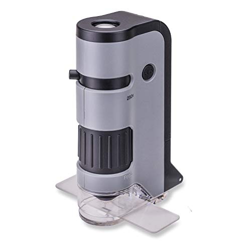 Carson MicroFlip Taschenmikroskop Vergrößerungsbereich 100x - 250x mit LED-Beleuchtungsfunktion und praktischem Adapter-Clip zur Befestigung an einem Smartphone