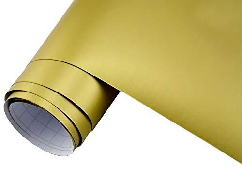 Neoxxim 24,22€/m2 Premium Auto Folie - Gold MATT 30 x 150 cm - blasenfrei mit Luftkanälen ca. 0,15mm dick Folierung folieren bekleben