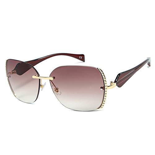 Taiyangcheng Polarisierte Sonnenbrille Mode Randlose Sonnenbrille Retro Markendesigner Diamant Dekoration Sonnenbrille Männer Übergroße Brillen Weibliche Shades,braun