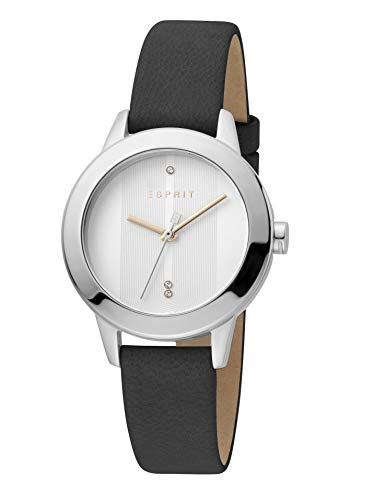 Esprit ES1L105L0235 Tact Uhr Damenuhr Lederarmband 5 bar Analog Schwarz