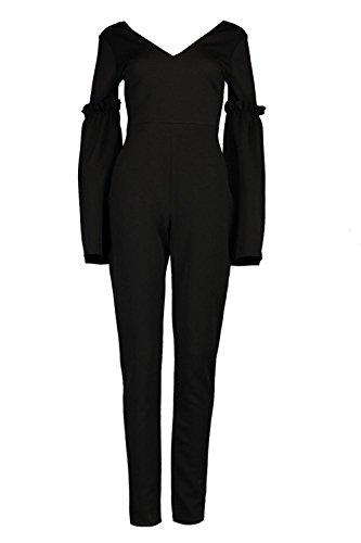 Noir Femmes Jacey Combinaison À Manches Évasées Et Détail Volanté Noir