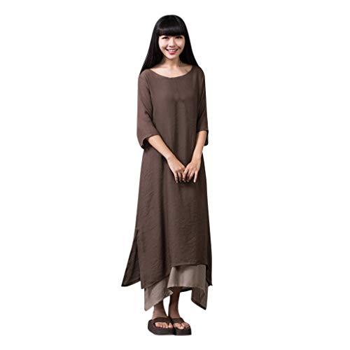 LOPILY Damenmode Sommerkleider Einfarbig Einfach Bequem Freizeit Maxikleid Partykleid Plus Size 3/4 Ärmel Casual Locker Unregelmäßiger Saum Kleider Strandkleid(Kaffee,EU-40/CN-L)