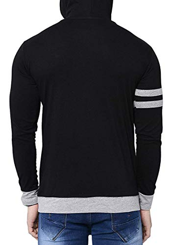 Fenoix Men's Cotton T-Shirt Hooded Black-Extra Large
