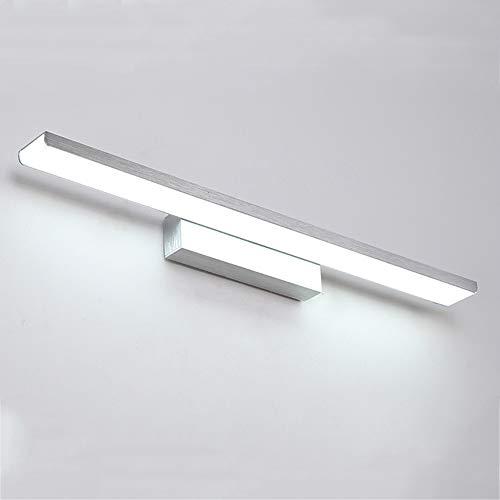 CUICANH Badezimmer Led Wasserdichte Spiegel Vorne Lampe, Moderner Einfachheit Aluminium Halter Wandleuchten Studiezimmer Schlafzimmer Spiegel Wandlampen-10w-silber-51cm Neutrales Licht(4000-4200k) -