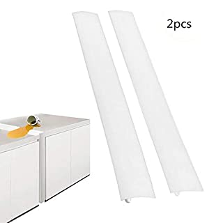 AZX 2 Pack Silicone Stove Counter Gap Cover Kitchen Spill Guard Seal Cover Gap Filler Easy Clean & Heat-Resistant For Cooker Worktop Kitchen Stove Counter (White)
